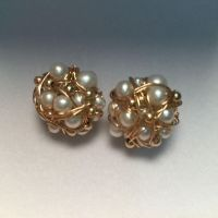 Private Custom Baroque pearl Earrings Hand woven new 9K GOLD WIRE Ear Studs