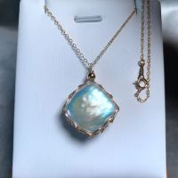 Custom Made Baroque natural pearl original hand woven new 9K GOLD WIRE Pendant Necklace