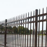 Industrial 3-Rail Decorative Circles Arrow metal fence