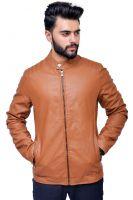 Men�s Slim Fit Camel Leather Jacket