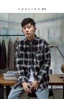Tang shi plaid shirt men's long - sleeved black and white plaid coatTa
