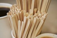 Wooden stirrer for coffee vending