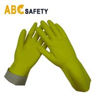 ABC SAFETY flock lined yellow cheap latex Long Sleeve Household Gloves