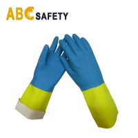 ABC SAFETY yellow and blue BIcolor industrial latex neoprene gloves