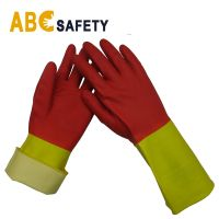 Wholesale kitchen cleaning wash dishes long waterproof gloves rubber latex custom printed household gloves