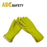Flock Lined Kitchen Garden Dishwashing household Yellow rubber latex gloves