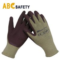 DDSAFETY Wholesale In China Yellow for shell, brown for coating safety working Latex Gloves