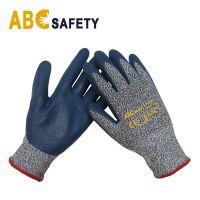 Blue Nitrile Coated Cut Resistant Safety Gloves