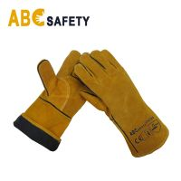 """14"""" Yellow Cowhide Split Leather Hand Glove for Welder"""