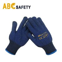 ABC SAFETY 7G Cheap Navy Blue PVC dotted both side cotton knitted work glove