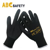 Black Sandy Finished Nitrile Coating Gloves