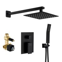 Hot sale in Amazon Rainfall Matte Black Shower set