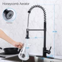 Spring high arc stainless steel kitchen sink faucet with pull down sprayer-matte black