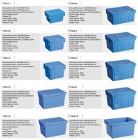 [All Dimensions Available] Attached-Lid Nestable Crates / Container