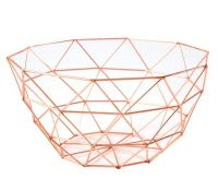 Creative Rose Gold Metal Wire Fruit Bowl Storage Basket