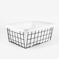 Black metal wire storage basket with cloth liner