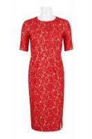 Taylor Crew Neck Short Sleeve Bodycon Zipper Back Floral Lace Dress