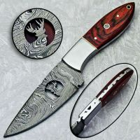 Damascus Hunting knife Custom Hand Made With Wire cut Deer Antler