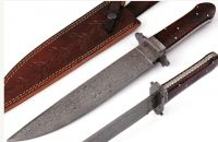 Damascus Steel Hunting Bowie Knife with American Wood Handle file Worked