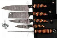 Custom Handmade Damascus Professional kitchen Chef knives set-5-Piece