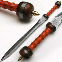 "Handmade Damascus Steel Spartacus Sword with Sheath"" Hard Wood Handle"