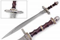 Beautiful Custom Handmade Damascus Steel Sword [Sheath] Rose Wood Handle