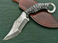Custom Handmade Damascus Steel Beautiful Karambit Knife With Black Razor Handle