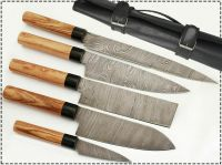 Custom Made Professional Damascus Kitchen/Chef Knife 5pc Set With Case Bag