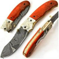 Superb Custom Hand Made Damascus Knives, Folding Pocket Knife Clip, With Sheath