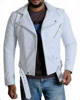 Motorcycle Mens White Biker Leather Jacket Vintage Classic Stylish Look Lambskin
