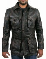 Mens Vintage Distressed Motorcycle Leather Jacket Coat For Men Genuine Leather