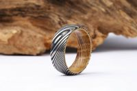 Damascus Steel and wood Ring Damascus steel weding band Wood Sleeve Wedding Ring