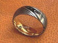 DAMASCUS STEEL MEN 8MM WEDDING BAND 14K GOLD ENGAGEMENT RING RUST RESISTANT