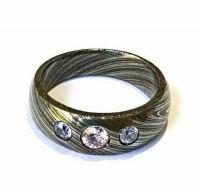 Damascus Steel Ring Band Brass Liner Damascus Ring Damascus Band