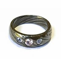 Damascus Steel Ring Band HANDMADE with Embedded ZIRCON Gemstone ALL SIZES