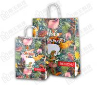 Cheap recycle paper shopping bags, High quality J cut paper bag