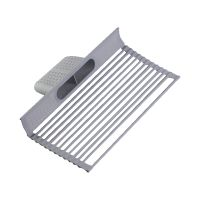 Kitchen accessories over the sink dish drying rack roll up silicone folding draining rack