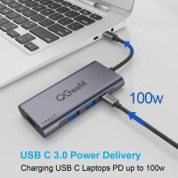 USB C Hub HDMI Adapter, QGeeM 7 in 1 Type C Hub to HDMI 4k, 3 USB 3.0 Ports, 100W Power Delivery, SD/TF Card Readers Compatible with MacBook Pro 13/15(Thunderbolt 3), 2018 Mac Air, Chromebook USB C Adapter