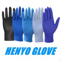 Hampool Large Size Food Processing Blue Disposable Nitrile Gloves