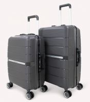 Factory offers high quality unbreakable PP luggage sets TSA lock rolling luggage