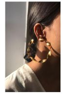 Handmade brass copper earrings for women girls antique tribal hammered polished gold finish factory wholesale cheap price