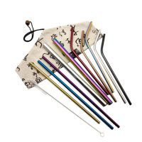 Stainless Steel 304 Straws with Cotton Linen Bag