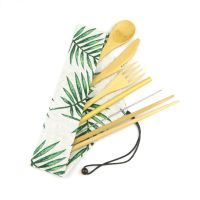 Dinnerware Sets Bamboo Wood Travel Eco Friendly Flatware Camping Cutlery Set Utensil Customizable Shape And Size