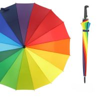16K rainbow straight umbrella auto open Gradual Color customized Straight-pole promotional advertising with print logo in stock