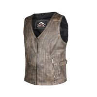 Ladies First Quality Light Brown Antique Genuine Cow Hide Leather Waist coat/Vest with Side Straps