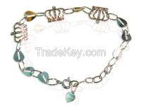 sterling silver bracelet, charm bracelet, wedding jewelry set