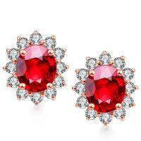 18K Gold Ruby Gemstone Pave Diamonds Earrings Fine Jewelry