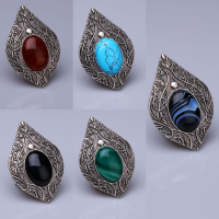 Agate Stone Silver Plated Magnet Brooches