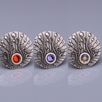 Amaranth Natural Stone Silver Plated Magnet Brooches