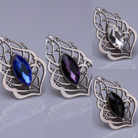 Black Crystal Stone Silver Plated Magnet Brooches